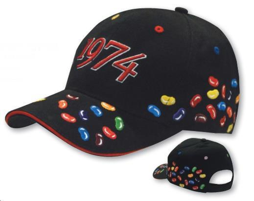 Jellybean embroidery make this cap suitable for Diabetic promotions.