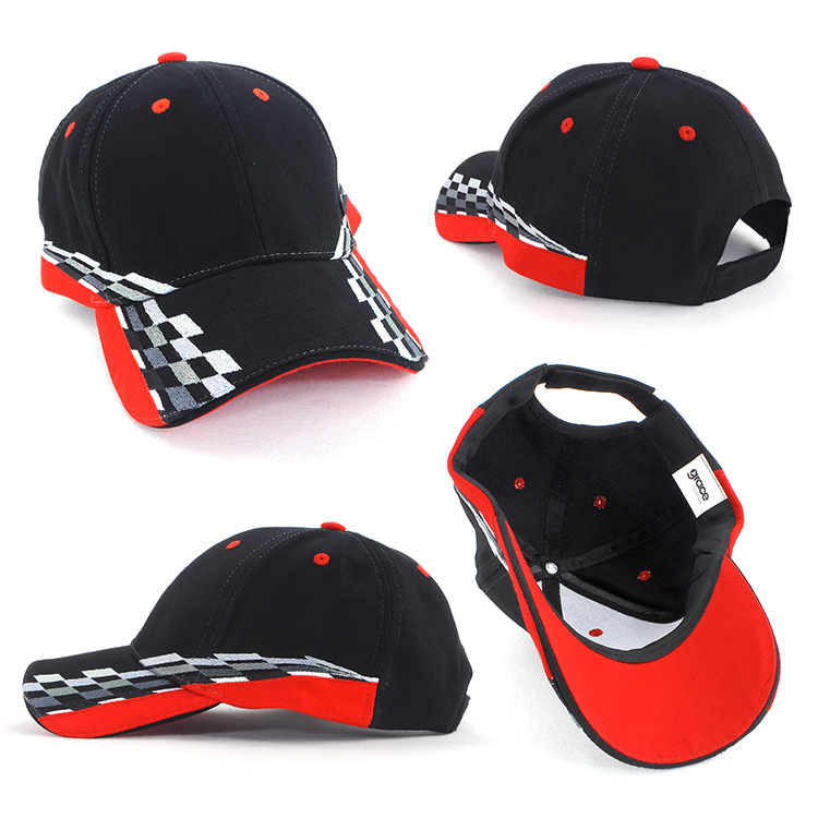 Embroidered with Checks and or flames these caps are most suitable for motor sports.